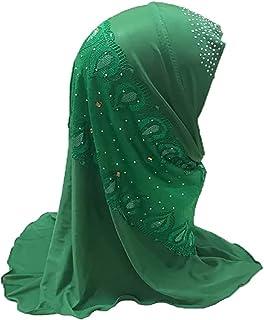 女孩蕾丝穆斯林 Hijab 柔软伊斯兰阿拉伯围巾披肩防紫外线阿米拉帽头巾带花朵,适合 2-6 岁儿童