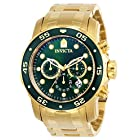 INVICTA 英弗他 男士 Pro Diver Scuba 48 毫米金色不锈钢计时石英手表(型号:0075),金色/绿色,标准 404.16元