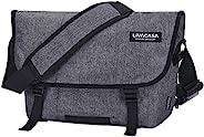 LIVACASA 邮差包男式大号斜挎包 男式 15.6 英寸笔记本电脑包 多个口袋 收纳袋 肩带 垫 休闲 学校 商务 旅行 灰色