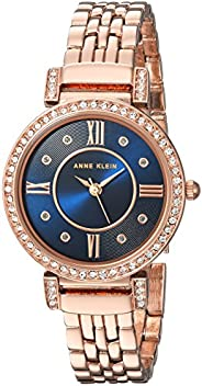 Anne Klein 女士施華洛世奇水晶重音手鏈手表,Rose Gold/Blue