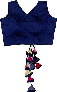 REKHA 女式衬衫纱丽设计师派对服装成衣衬衫纱丽女性设计师印度风格加垫衬衫适用于纱丽露脐 S 041 蓝色