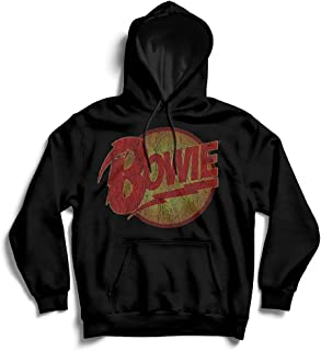 David Bowie 男式复古钻石狗标志连帽衫黑色