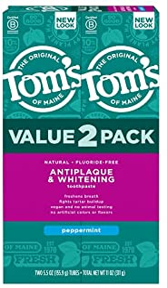Tom's of Maine 抗牙菌斑美白无氟牙膏,薄荷味,5.5盎司