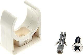 RESALET PVC 水管夹 20 毫米,适合 20 毫米 / 0.79 英寸外径 U 型挂钩电视托盘管软管挂钩支撑盆管,W 安装螺丝白色 30 件