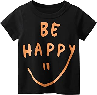 Rixin Be Happy Smiley Face 男婴女孩短袖 T 恤棉 T 恤 1-7T
