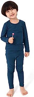 FOXCLUB 男孩和女孩打底韩国保暖儿童内衣柔软短羊毛长袖睡衣套装