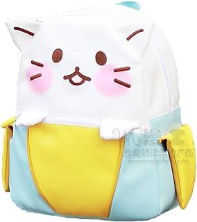 GK-O 日本可爱香蕉猫角色扮演帆布 PU 背包 书包