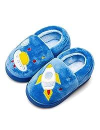 毛绒保暖拖鞋适合女孩男孩儿童幼儿冬季毛皮衬里室内家居鞋