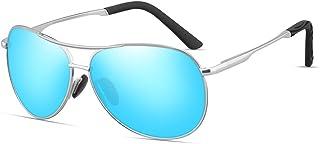 TAMWY 偏光飞行员太阳镜男式女式金属框架 UV400 防护