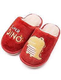 男孩女孩可爱动物屋拖鞋小熊兔毛绒室内保暖鞋/防滑鞋底(幼儿/小童/大童)