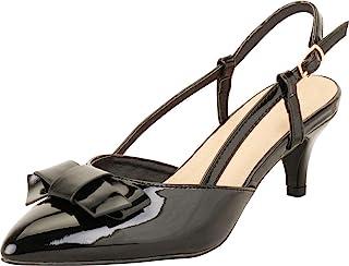 Cambridge Select 女士尖头 D'Orsay 蝴蝶结露跟中猫高跟鞋