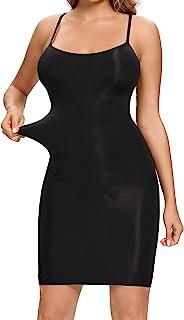 女式 Shapewear 滑动轻收腹无缝光滑全身修身迷你连衣裙细肩带吊带背心