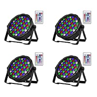 SHEHDS 无线遥控 LED 舞台灯 54 x 3W LED 平光灯 RGBW DMX 512 舞台照明适用于家庭聚会婚礼 DJ 秀俱乐部音乐会舞蹈地板照明 - 4 件装
