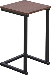 IRIS OHYAMA 桌子 侧边桌 圆形设计 木纹风格 棕色橡木/黑色 宽约29×深约29×高约52.2厘米 SDT-29