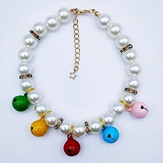 XINAOBAOLUO 水晶珍珠狗项链首饰和闪亮时尚多彩铃铛宠物猫狗女孩茶杯吉娃娃约克服装套装(彩色)