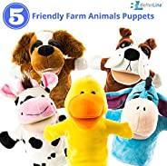 BETTERLINE 动物手偶 5 件套(可移动的嘴巴)- 优质,9.5 英寸柔软毛绒手偶 - Better Line 出品 农场动物