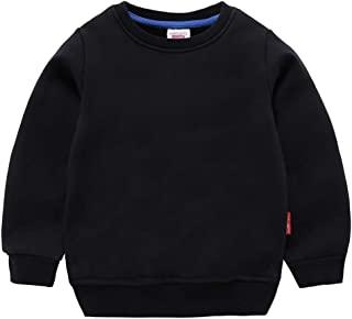 DQCUTE 男孩圆领运动衫女孩运动长袖棉质儿童幼儿纯色套头上衣(1-8 岁)