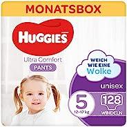 Huggies Ultra Comfort 裤子,尺码 5,12至17 千克,适合活跃儿童,带湿指示器和云端袖口技术,128 个尿布,月盒