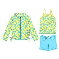 SwimZip 女童长袖*泳衣短裤套装,UPF 50+