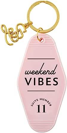 Weekend Vibes 粉色汽车钥匙牌,8.89 cm