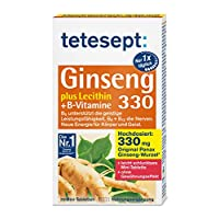tetesept Ginseng 330 Plus 卵磷脂+ B - 高剂量 - 富含维生素 - 1 x 30 个迷你片(营养补充剂)