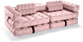 Pigro Felice Modul'Air 3 合 1 充气沙发/泳池漂浮/双人躺椅,玫瑰粉红色,双人座椅。