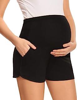 Eavoqinjiaf 孕妇短裤,休闲弹性孕妇短裤,高腰弹性孕妇短裤,带口袋
