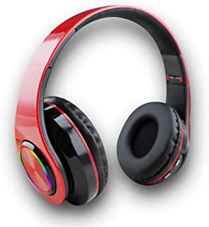 Newtom - 冷光 - 无线耳机,头戴式,蓝牙可折叠设计,内置麦克风,降噪,TF 卡插头,立体声输出,输入插孔,游戏耳机 - 红色