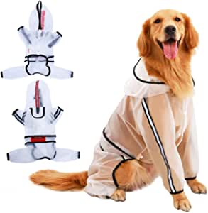 KOESON 透明狗狗雨衣 防水连帽狗狗雨衣 宠物雨衣 轻便 4 腿狗狗雨衣 带反光条和皮带孔 适合小型中大型犬
