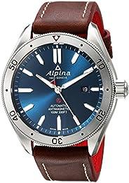 "Alpina 男士""Alpiner 4""自动不锈钢和皮革休闲手表,颜色:棕色(型号:AL-525NS5AQ6)"