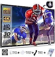 投影仪屏幕,Homemaxs 电影屏幕 120 英寸 16:9 高清可折叠防折痕便携式投影仪电影屏幕适用于室外室内家庭影院橄榄球游戏电影屏幕支持双面投影