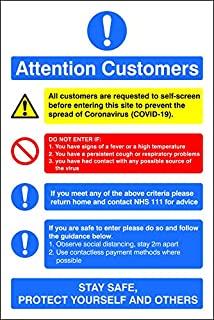 "SECO ""Attention CUSTOMERS"", 150x200mm 窗户吸附膜标志"
