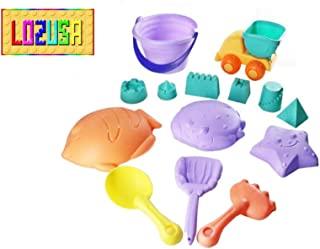 LOZUSA 沙滩沙玩具儿童室内室外玩耍套装,男女童 14 件套有趣的沙滩玩具 适合 1 岁以上儿童