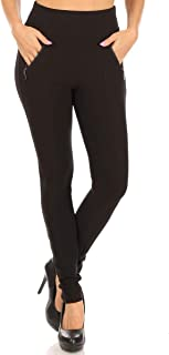 ShoSho 女式紧身裤修身款带口袋和拉链秋季冬季打底裤