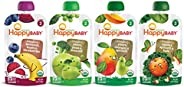 Happy Baby Organic 2阶 婴儿食品 简单组合,不同口味,4盎司/113g袋装(16袋装)口味组合可能不同