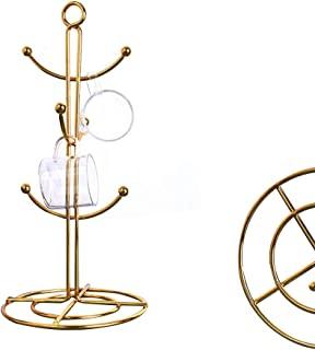 RomanticDesign 6 个支架,台面杯子树,6 个挂钩咖啡杯烘干机厨房咖啡杯树台面茶杯架支架 金色 均码