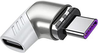USB C 磁性充电适配器 Type C 直角连接器 100W PD 充电器 480Mbp/s 数据传输兼容 MacBook Pro/Air 智能手机平板电脑 USB-C 设备 白色