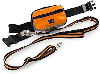 All FOR PAWS 免提狗绳,适用于跑步散步训练徒步,粪便袋分配器袋,可调节腰带,防震,非常适合户外中型至大型犬 - 慢跑牵引绳橙色