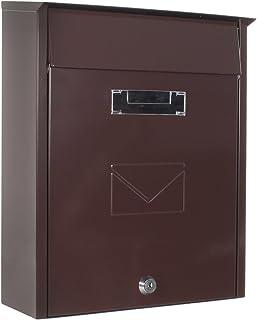 Rottner Tivoli 双通道钢质信箱适用于墙壁/门安装 - 棕色