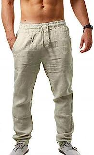 男式休闲长裤亚麻裤 - 宽松轻便休闲裤夏季瑜伽沙滩裤