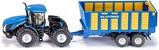 SIKU 1947,New Holland T 拖拉机,带Silaw,1:50;金属/塑料,蓝色,多种功能