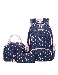 MITOWERMI 学生背包带午餐袋小学生书包适合少女 3 合 1 背包套装