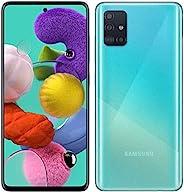 Samsung 三星 Galaxy A51 (128GB, 4GB) 6.5+ 手机,48MP四摄像头,双SIM GSM,仅解锁 A515F/DS - 美国 + 全球4G LTE国际模型(棱镜粉碎蓝色,64GB SD +
