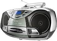 Karcher RR 510N 便携式立体声 CD 播放机(CD/MP3 播放器 调频收音机 磁带 MP3 播放 100W(PMPO) USB 2.0) 银白色 cm