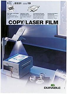 耐用的 833119 复制/激光薄膜,适用于激光打印机/复印机和头顶投影仪 A4,100 my,100 个装