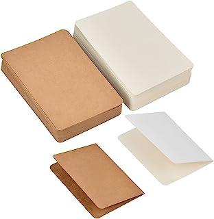 100 张空白贺卡空白白色和牛皮纸卡片,5.5 x 3.5 英寸(约 13.5 x 9.5 厘米)厚卡片,适用于婚礼、生日派对、邀请函、感谢卡和所有场合(天然棕色和白色)