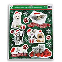 "Christmas Holiday Kittens and Puppies ""Happy Pawlidays""静电窗贴 - 18 件"