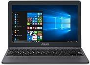 ASUS VivoBook E203MA超薄笔记本电脑,Intel Celeron N4000处理器(高达2.6 GHz),4GB LPDDR4,64GB eMMC闪存,11.6英寸高清显示器,USB-C,Windows