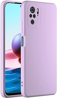 Cresee 兼容小米 Redmi Note 10 手机壳,薄硅胶套,带超细纤维内部摄像头保护,防刮超薄贴合弹性手机壳,适用于 Redmi Note 10 4G - 淡紫色
