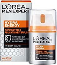 L'Oréal Paris 巴黎歐萊雅 男士專家 Hydra Energy 勁能極潤保濕面霜 保濕不油膩 適合干燥敏感的男性皮膚,可作為日霜/晚霜,1瓶/